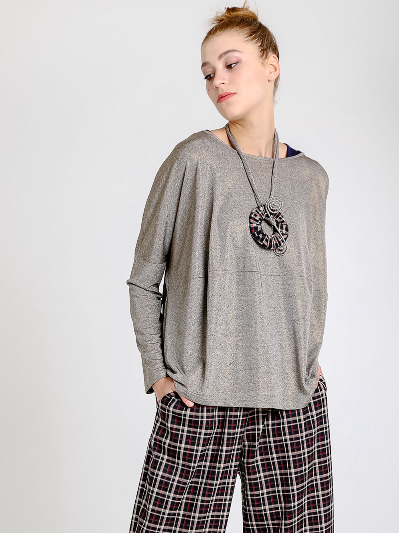 T-shirt ovetto in lurex