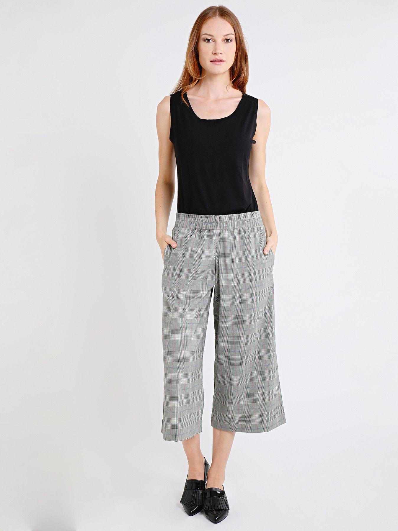 Pantalone midi con fantasia check