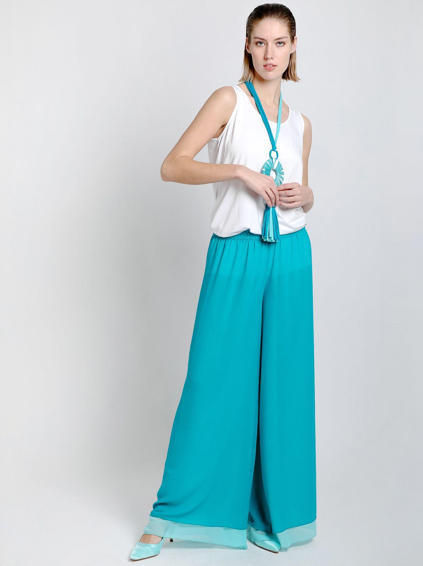 Pantalone in doppio strato di chiffon