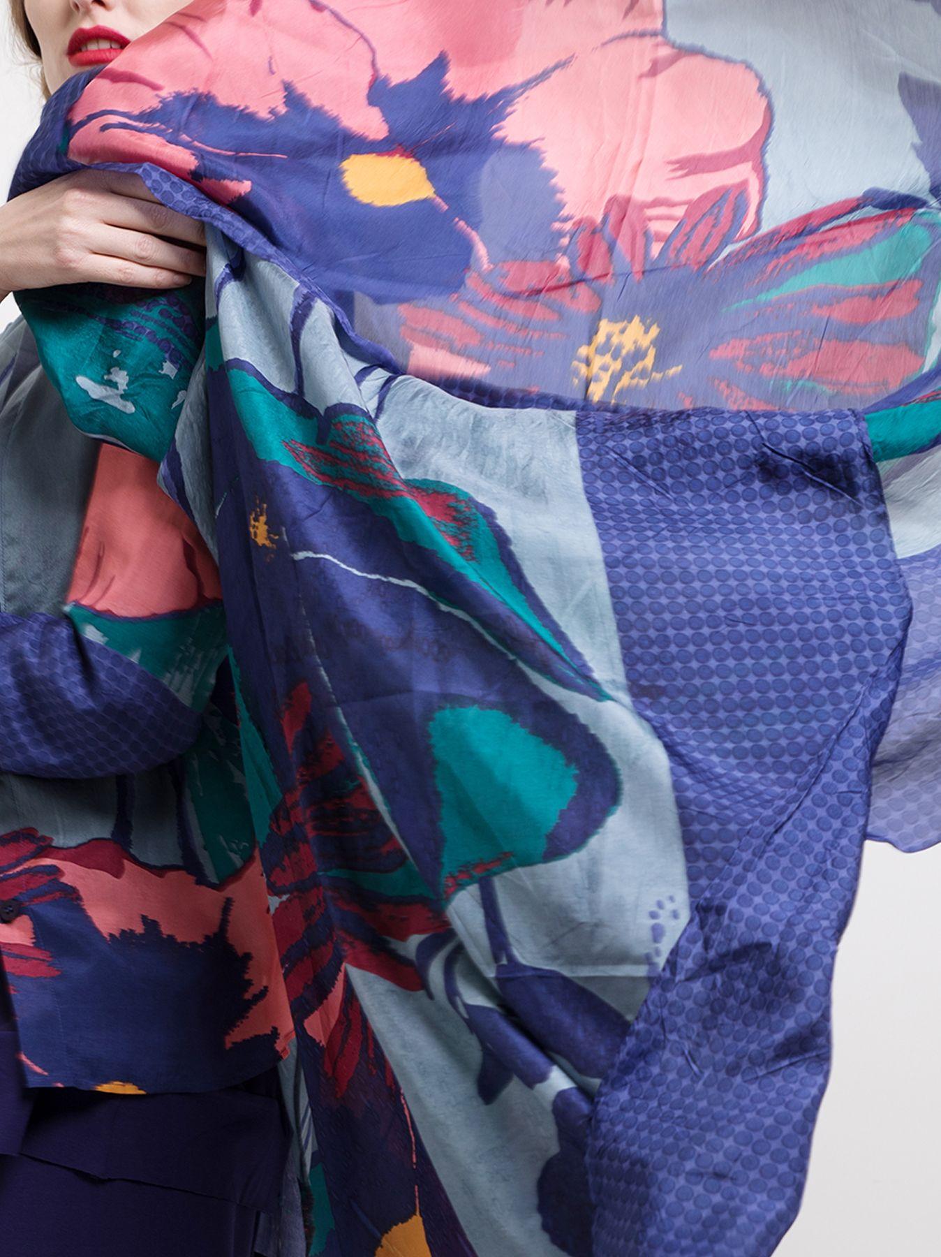 Sciarpa di seta con stampa floreale