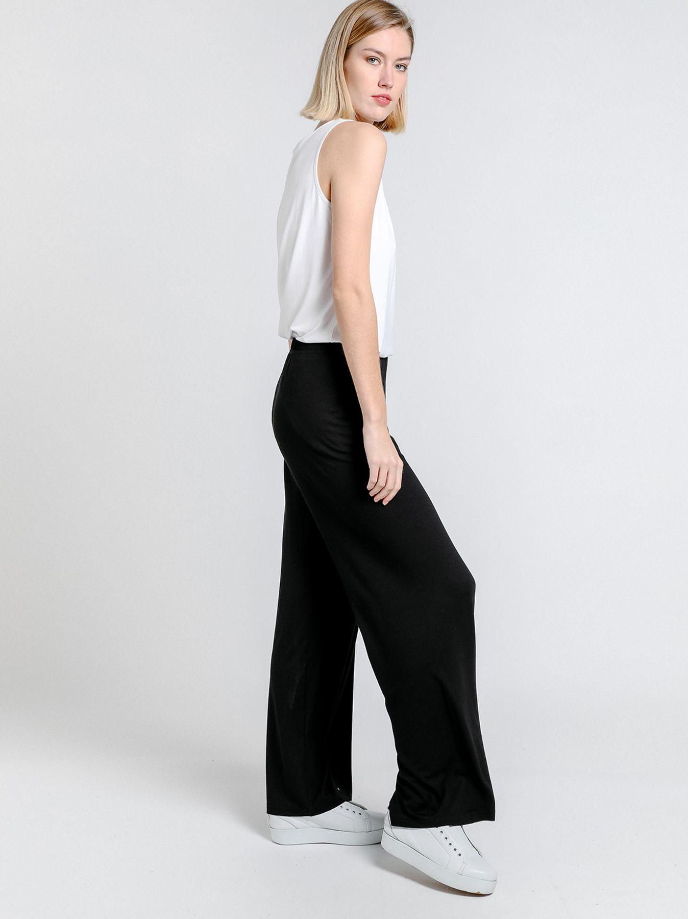 Pantalone elastico in tinta unita