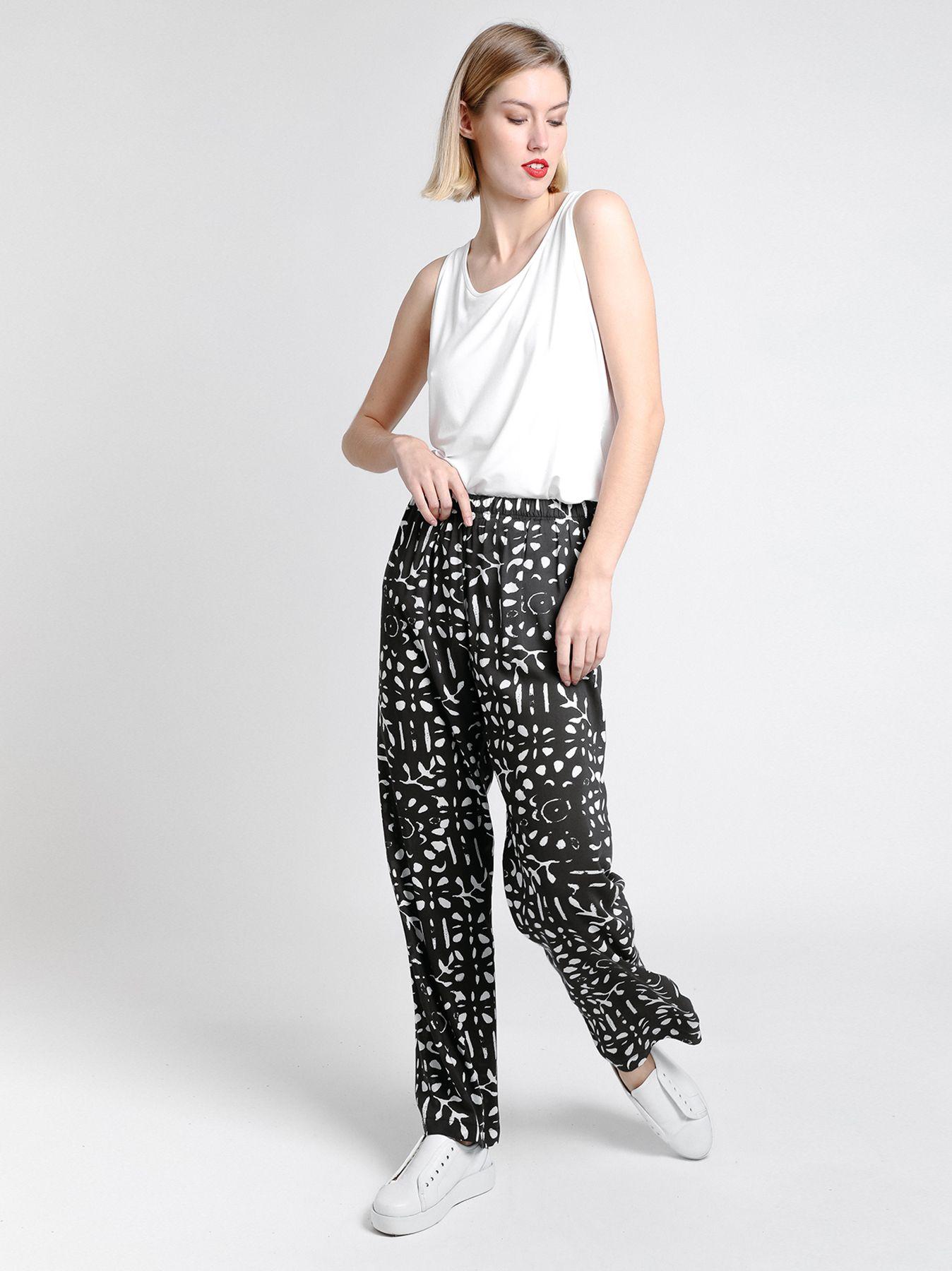 Pantalone in viscosa stampata