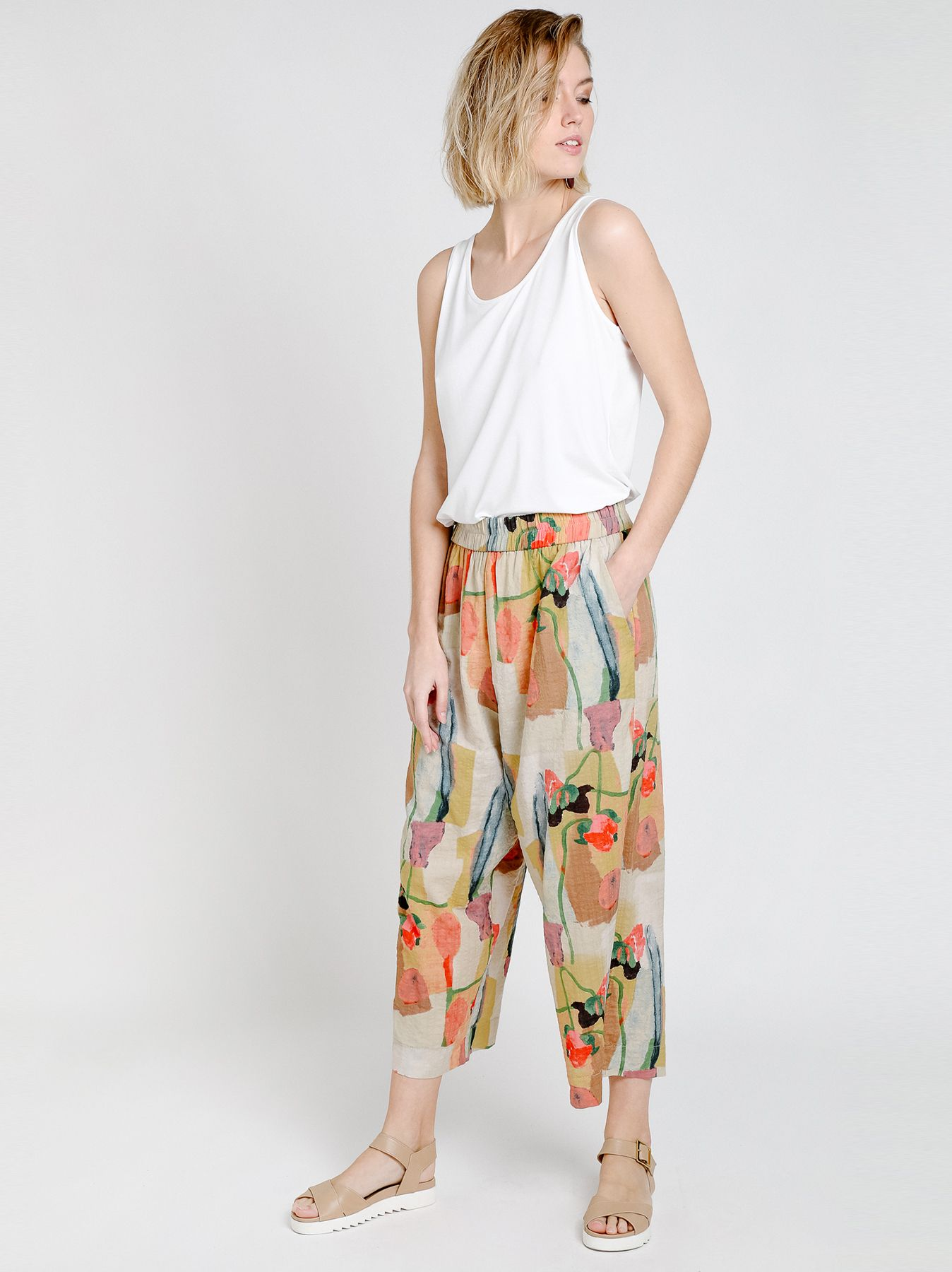 Printed cotton gaucho pants