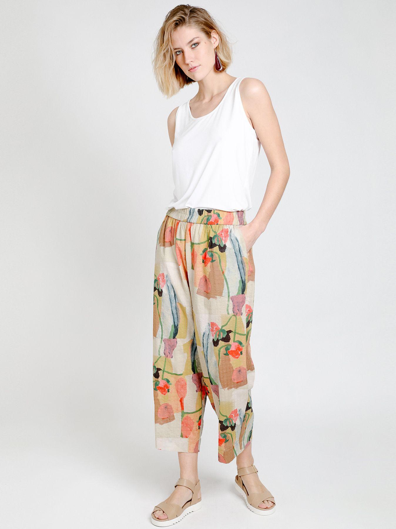 Pantalone gaucho in cotone stampato
