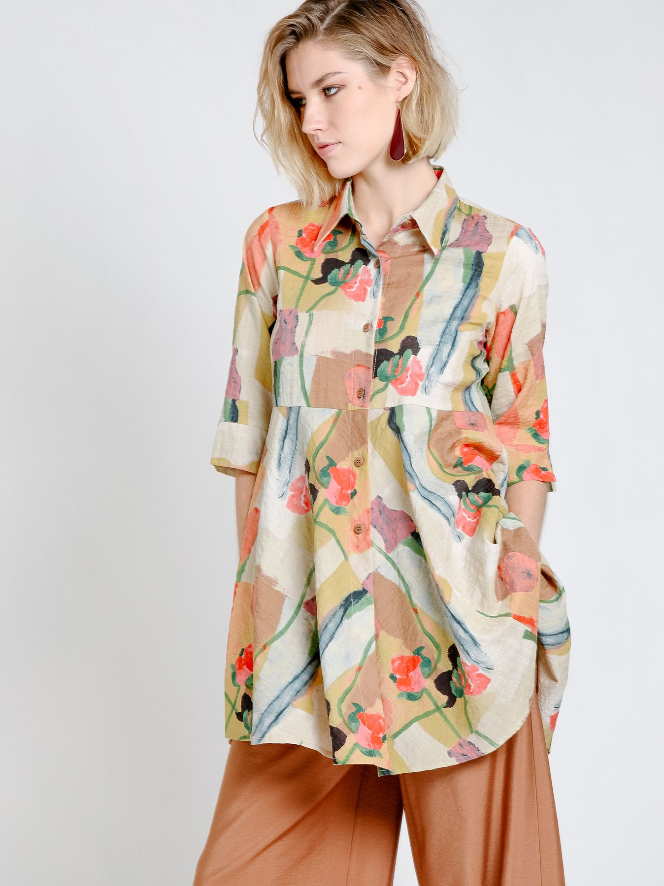 Printed cotton flared shirt