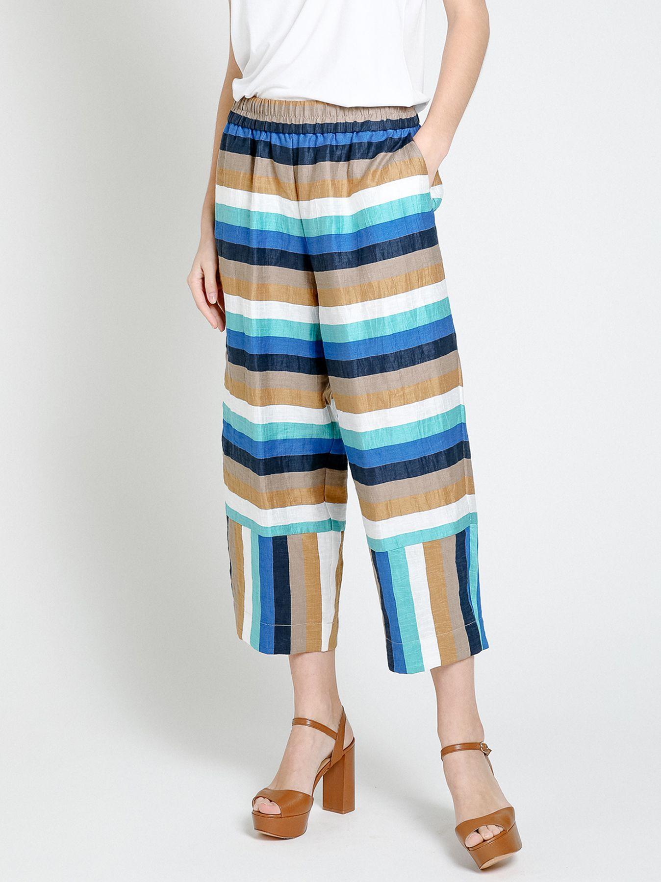 Pantalone in lino rigato