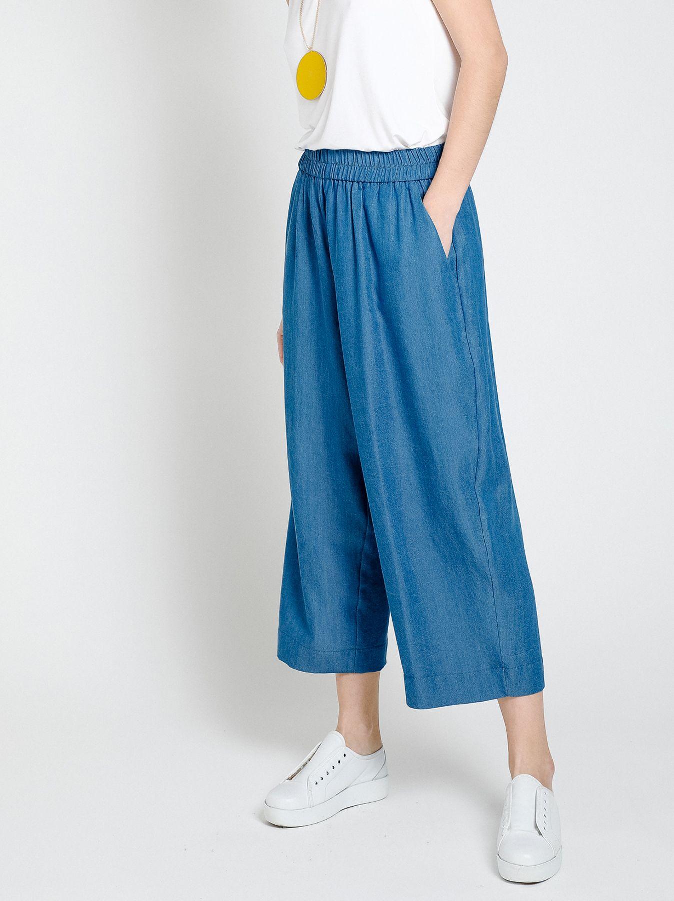 Pantalone gaucho in chambray